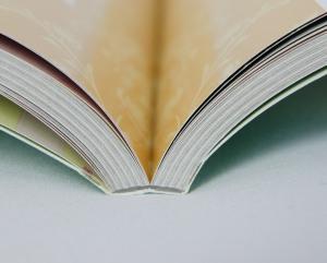 Bei der Klebebindung verbindet ein stabiler Klebstoff die Seiten und es entsteht ein Falz in der Buchmitte