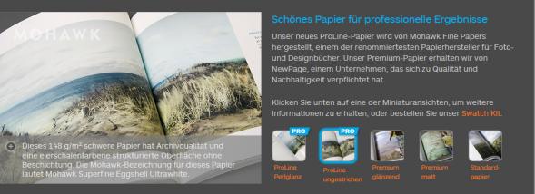 Papierauswahl bei Fotobüchern