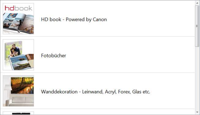 Produktauswahl fotobook.de
