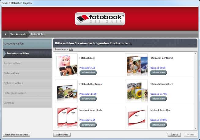 Auswahl Format und Cover bei fotobook.de