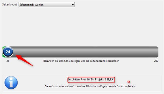 Auswahl Seitenanzahl fotobook.de