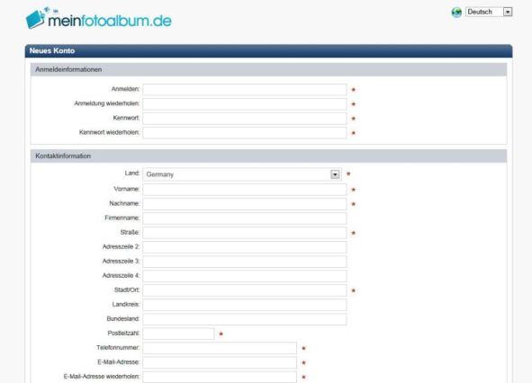 Anmeldeformular meinfotoalbum.de