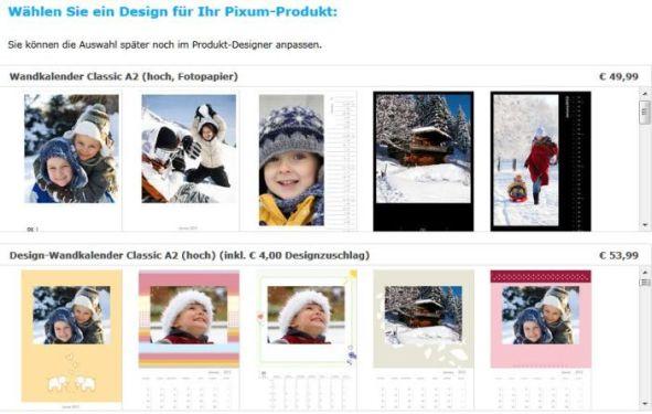 Auswahl Fotokalender Pixum