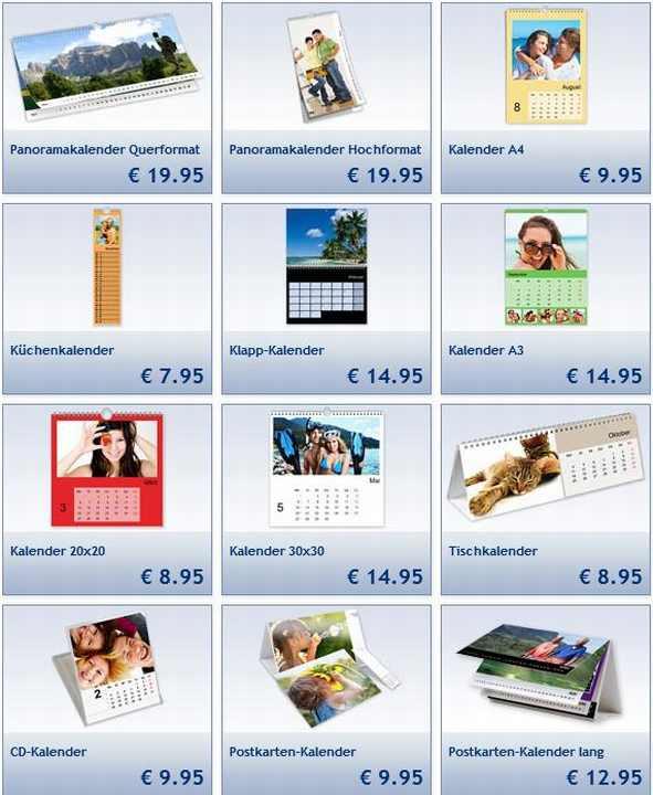 Lidl Auswahl Fotokalender 2014