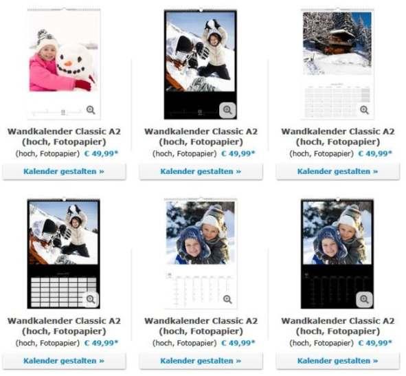 Auswahl Pixum Fotokalenderdesigns