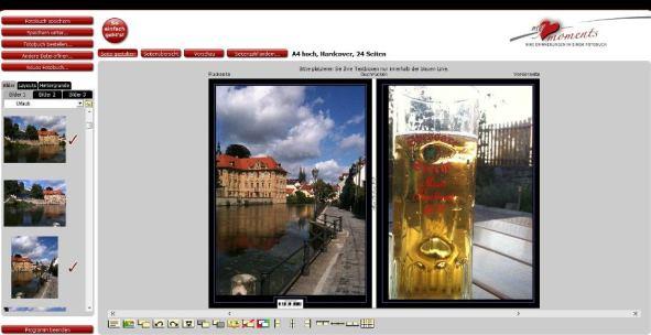 Bearbeitungsfenster Fotobuch my moments