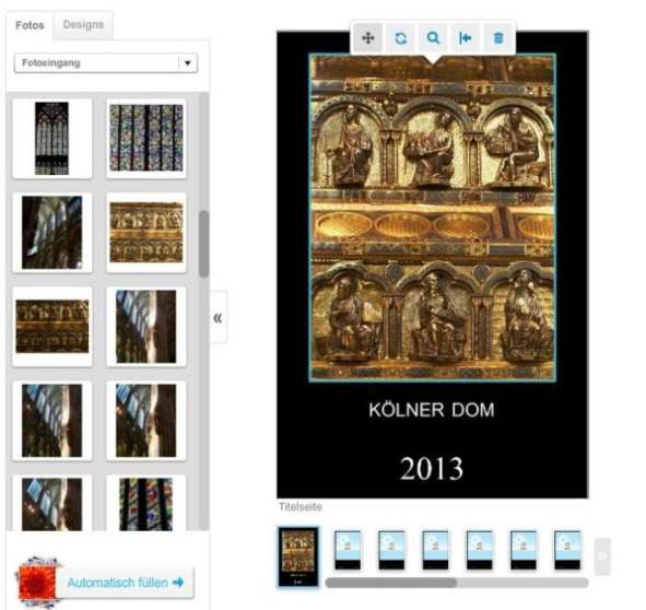 Bearbeitungsfenster Fotokalender Pixum