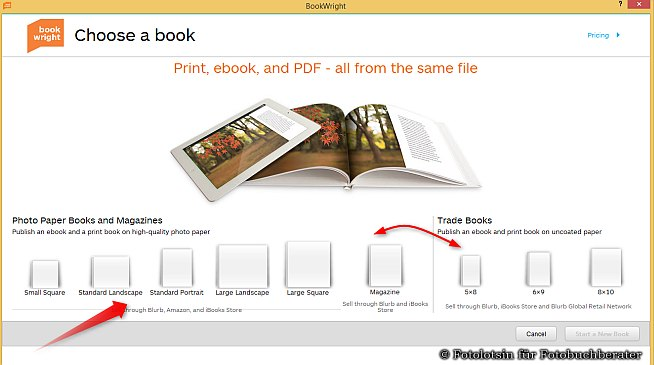 Blurb Auswahl Formate ebooks