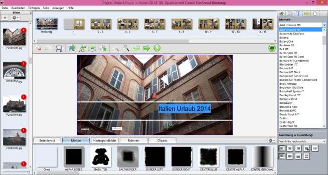 Testgestaltung Canon Fotobücher