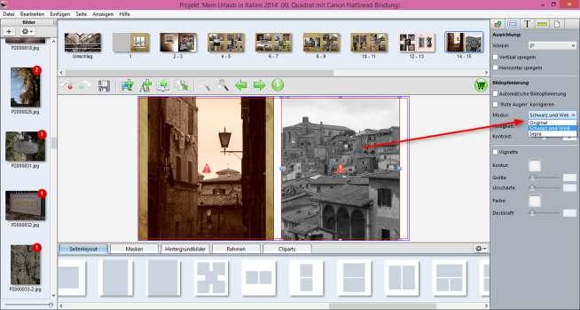 Canon Fotobücher Bildeditor
