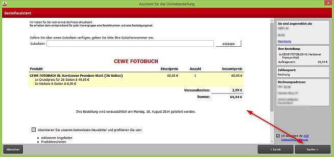 Cewe Fotobuch Warenkorb