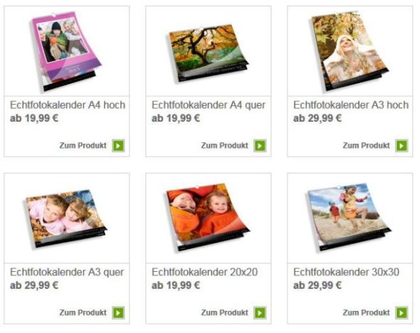 Echtfotokalender Auswahl Fotokasten