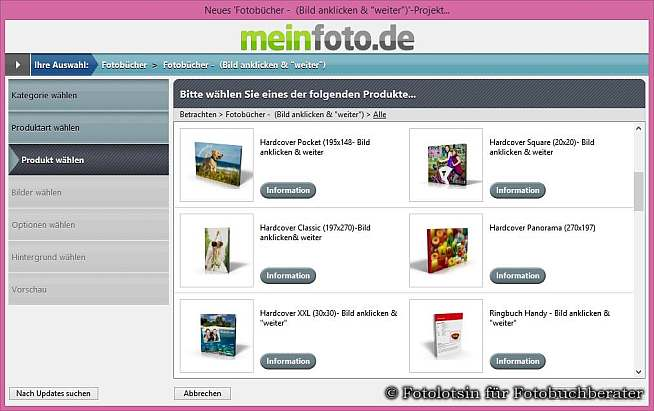 Format Auswahl meinfoto.de