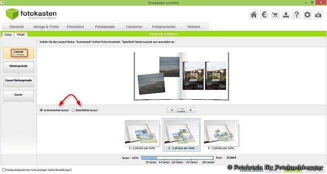 Fotokasten Assistent layout Auswahl