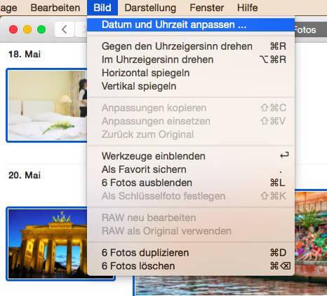 Aufnahmedatum bei Fotos korrigieren mit dem Mac