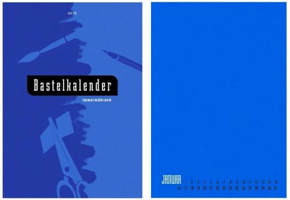 Immerwährend Bastel Kalender blau