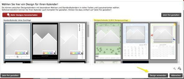 Infos Fotokalender Auswahl Design