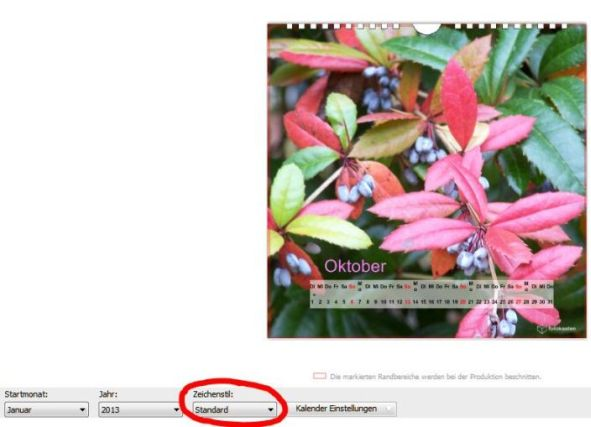 Kalendarium Fotokasten Standard