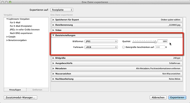 Lightroom Export für Fotobuch Dateieinstellungen