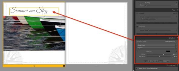 Fotobuch Lightroom Textformatierung