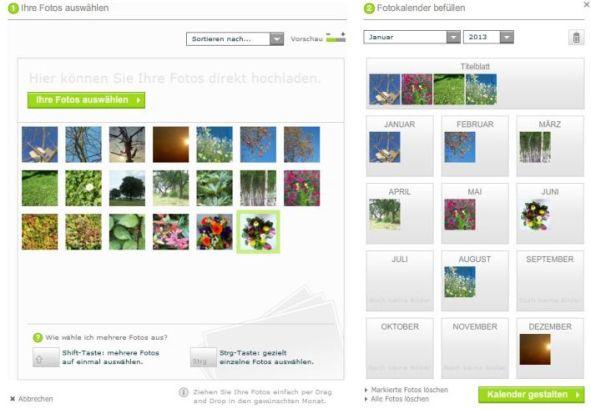 Online Bearbeitungsfenster Fotokasten Echtfotokalender
