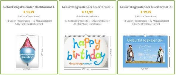 Online Creator Auswahl Geburtstagskalender