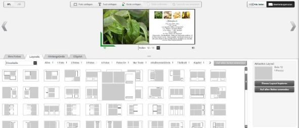 Photobox Onlineeditor Auswahl Layouts