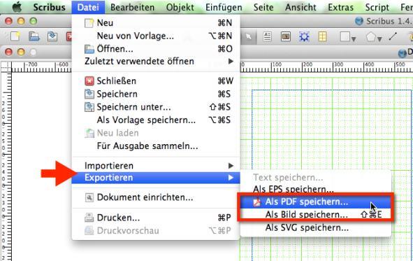Scribus Fotobuch Dateiexport