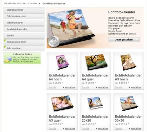 Software Auswahl Echtfotokalender Fotokasten