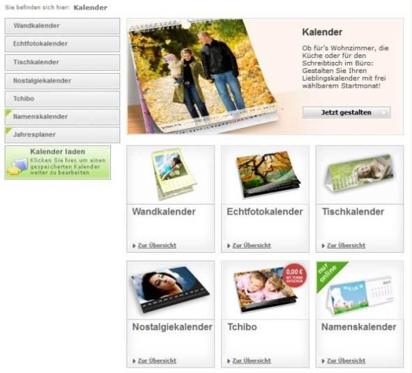 Software Auswahl Kalender Fotokasten