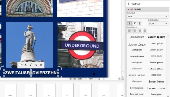 Software Bearbeitungsfenster Bildbearbeitung Text