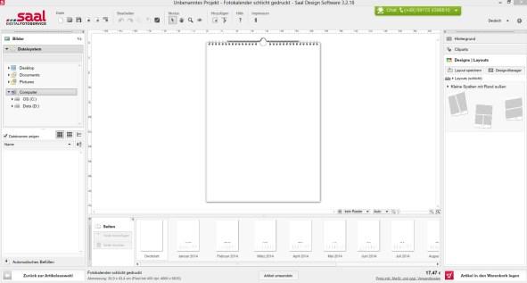 Software Bearbeitungsfenster Blanko
