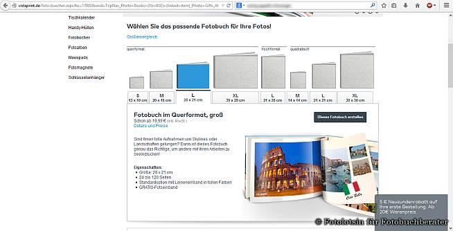 Vistaprint Fotobuch Übersicht Website