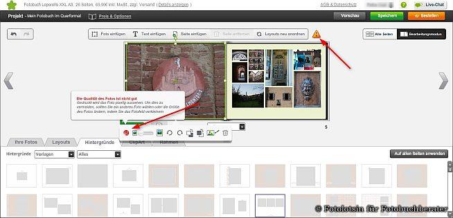 Vorschau und Kontrolle bei Photobox