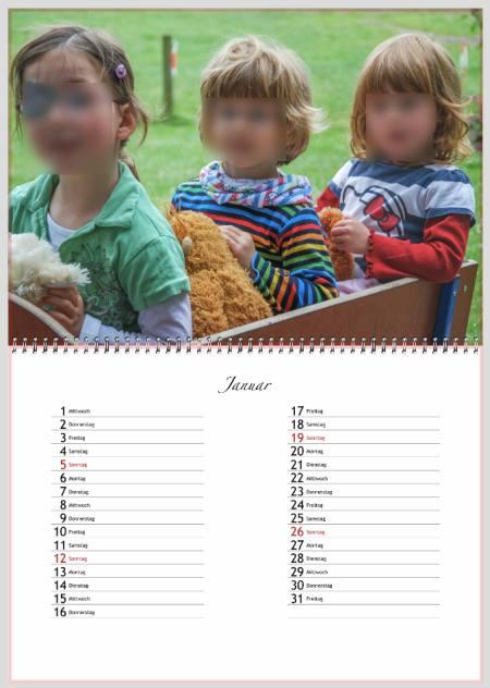 albelli Kalenderergebnis digitale Vorlage