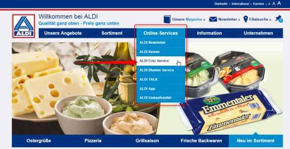 aldi allgemeine Homepage