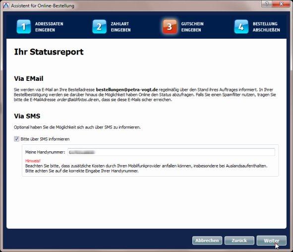 Aldi Bestellprozess Statusmeldung