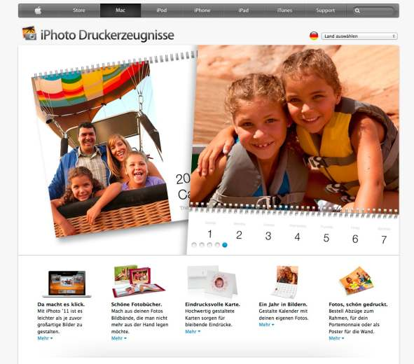 apple Fotobuch Website Überblick
