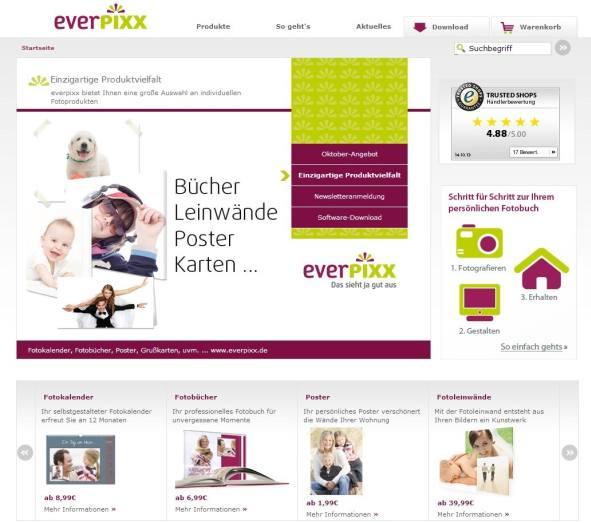 everpixx Fotobuch Homepage