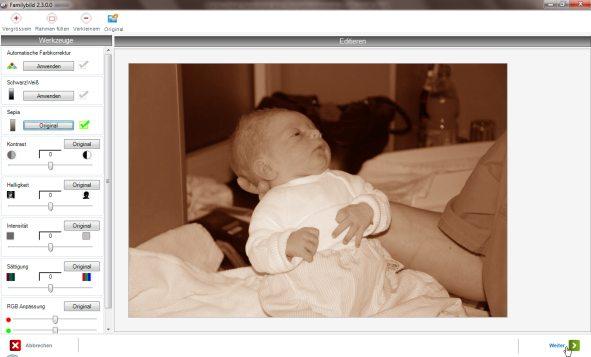 familybild Fotobücher Bildeditor