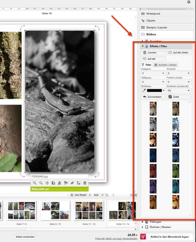 fotofoto Fotobuch Bildeffekte