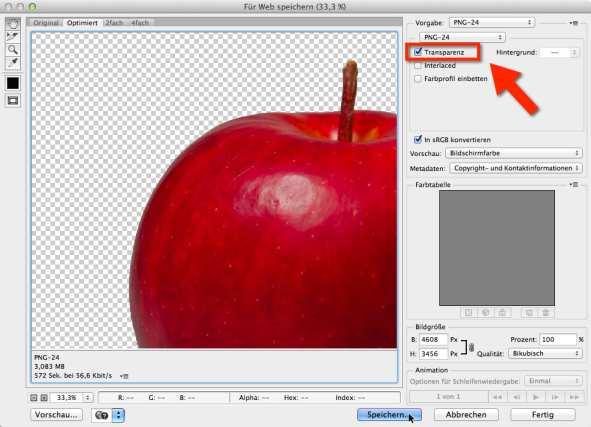 freistellen Photoshop Speicherdialog