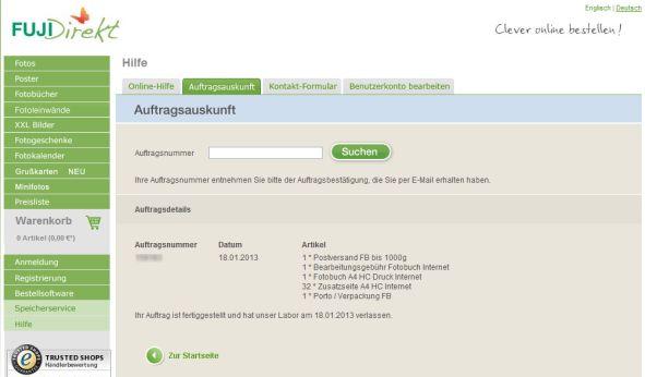 fujidirekt Fotobuch Bestellstatus