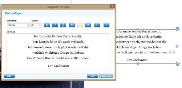 happyfoto Textformatierung