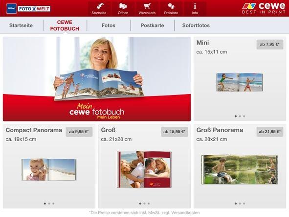App CEWE Fotobuch Auswahl