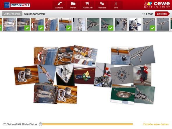 Auswahl Einbandtyp CEWE App