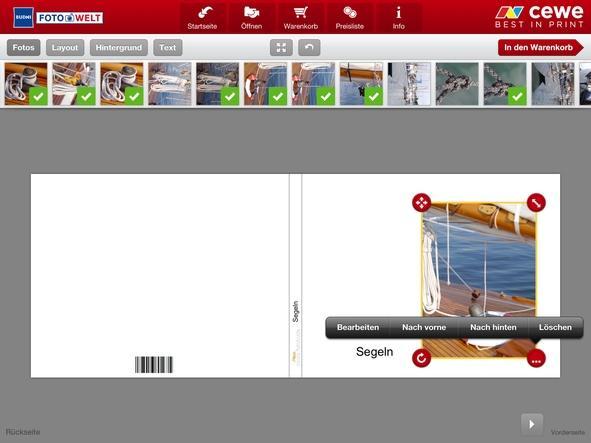 Anordnung Bild und Textelemente