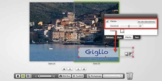 myphotobook Text transparenz-fläche
