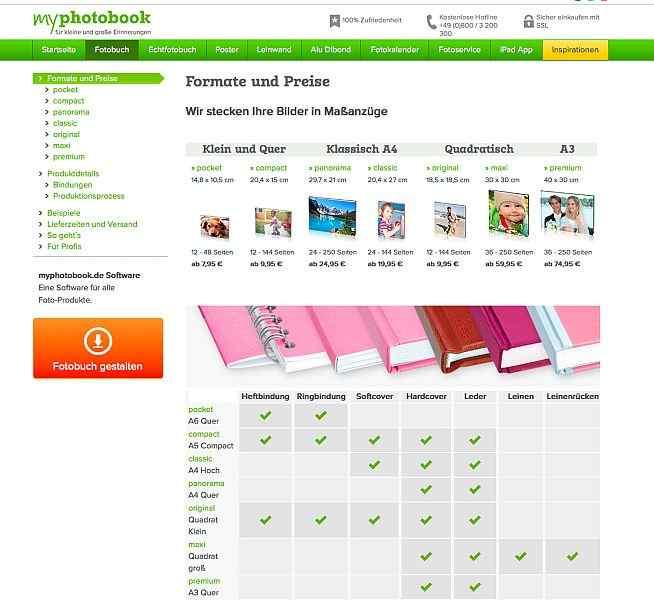 myphotobook Website Formatübersicht