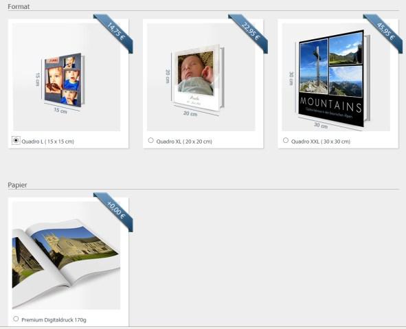Picapoco Fotobuch Buchgrössen Papier